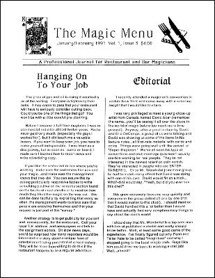 Magic Menu volume 1, number 3 (Jan - Feb 1991) by Jim Sisti