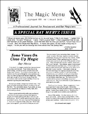 Magic Menu volume 1, number 6 (Jul - Aug 1991) by Jim Sisti