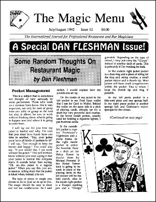 Magic Menu volume 2, number 12 (Jul - Aug 1992) by Jim Sisti