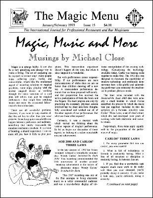 Magic Menu volume 3, number 15 (Jan - Feb 1993) by Jim Sisti