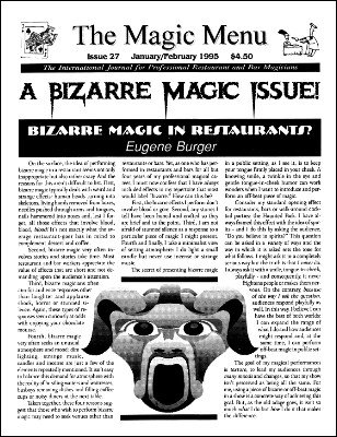 Magic Menu volume 5, number 27 (Jan - Feb 1995) by Jim Sisti