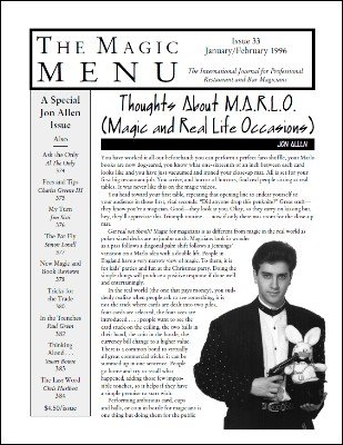 Magic Menu volume 6, number 33 (Jan - Feb 1996) by Jim Sisti