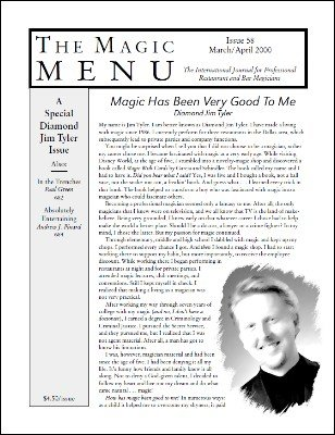 Magic Menu volume 10, number 58 (Mar - Apr 2000) by Jim Sisti