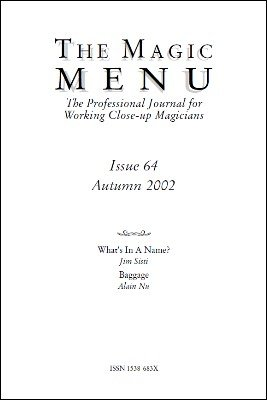 Magic Menu volume 11, number 64 (autumn 2002) by Jim Sisti