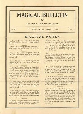 Magical Bulletin Volume 3 (1915) by Floyd Gerald Thayer