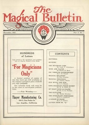 Magical Bulletin Volume 11 (November 1923 - October 1924) by Floyd Gerald Thayer