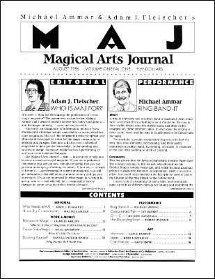 Magical Arts Journal Volume 1 Issue 1 (Aug 1986) by Michael Ammar & Adam J. Fleischer