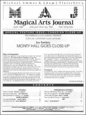 Magical Arts Journal Volume 1 Issue 10 (May 1987) by Michael Ammar & Adam J. Fleischer