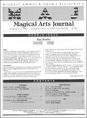 Magical Arts Journal Volume 1 Issue 11 and 12 (Jun - Jul 1987) by Michael Ammar & Adam J. Fleischer