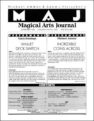 Magical Arts Journal Volume 1 Issue 2 (Sep 1986) by Michael Ammar & Adam J. Fleischer