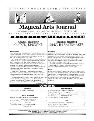 Magical Arts Journal Volume 1 Issue 4 (Nov 1986) by Michael Ammar & Adam J. Fleischer
