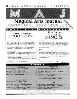 Magical Arts Journal Volume 1 Issue 5 and 6 (Dec 1986 - Jan 1987) by Michael Ammar & Adam J. Fleischer
