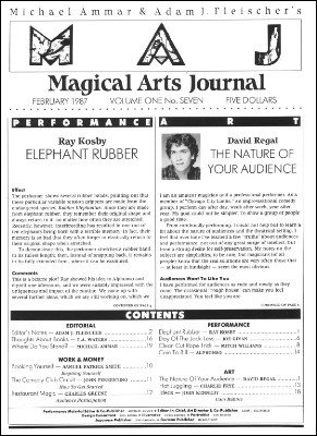 Magical Arts Journal Volume 1 Issue 7 by Michael Ammar & Adam J. Fleischer