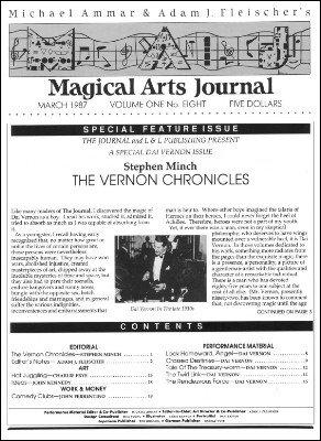 Magical Arts Journal Volume 1 Issue 8 by Michael Ammar & Adam J. Fleischer