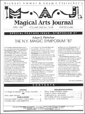 Magical Arts Journal Volume 1 Issue 9 (Apr 1987) by Michael Ammar & Adam J. Fleischer