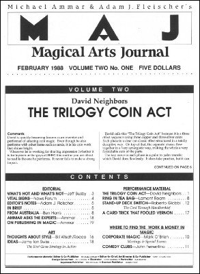 Magical Arts Journal Volume 2 Issue 1 by Michael Ammar & Adam J. Fleischer