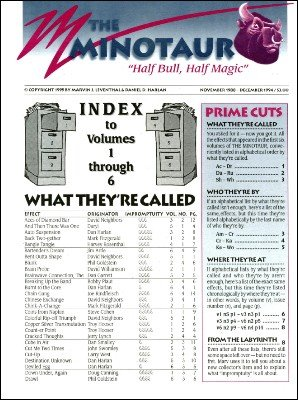THE MINOTAUR Index Volumes 1-8 by Marvin Leventhal & Dan Harlan