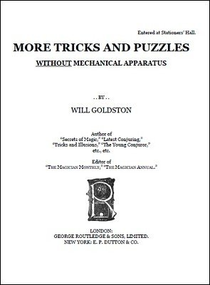 More Tricks and Puzzles by Will Goldston