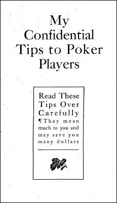 My Confidential Tips To Poker Players by F. R. Ritter