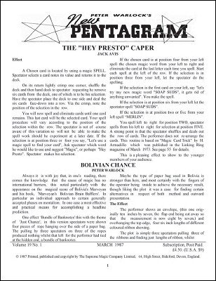 New Pentagram Magazine Volume 19 (March 1987 - February 1988) by Peter Warlock